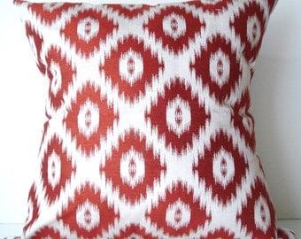 New 18x18 inch Designer Handmade Pillow Case red on white ikat