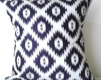 New 18x18 inch Designer Handmade Pillow Case purple on white ikat