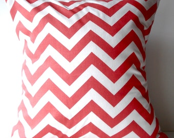 New 18x18 inch Designer Handmade Pillow Case. In coral and white chrvron zig zag pattern.