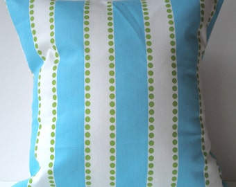 New 18x18 inch Designer Handmade Pillow Cases. wide blue stripe with green dots.