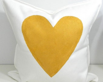 New 20x20 inch Designer Handmade Pillow Case with hand painted gold heart