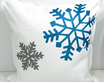 New 20x20 inch Designer Handmade Pillow Case with hand painted snow flakes