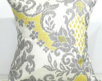 New 18x18 inch Designer Handmade Pillow Case in yellow cream and grey ikat