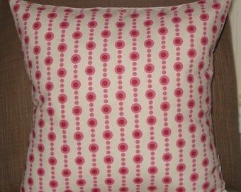 New 18x18 inch Designer Handmade Pillow Case in pink and red dots on off white backgroud.