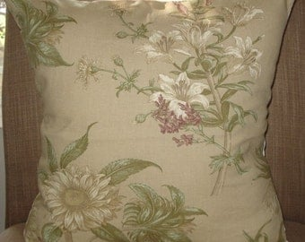 New 18x18 inch Designer Handmade Pillow Casein taupe, green and wine floral.