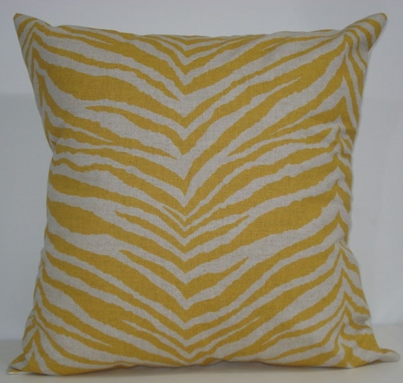 New 18x18 inch Designer Handmade Pillow Case in Zebra print in corn yellow and linen color fabric.