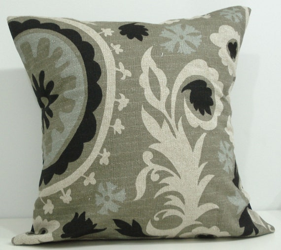 New 18x18 inch Designer Handmade Pillow Case. Suzani print in ivory, black, olive, and light blue.