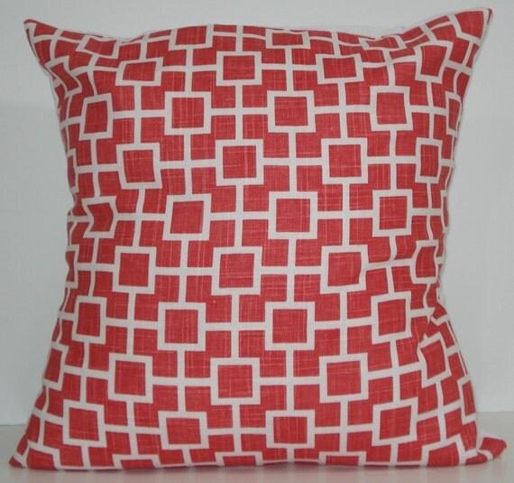 New 18x18 inch Designer Handmade Pillow Cases in pink cat's cradle linen