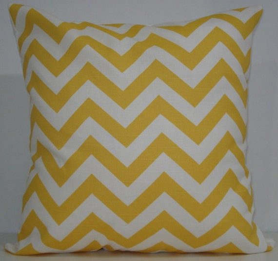 New 18x18 inch Designer Handmade Pillow Case. Corn yellow and white chrvron zig zag pattern.