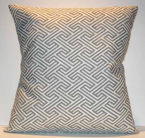 New 18x18 inch Designer Handmade Pillow Case. Warm grey and white pattern.