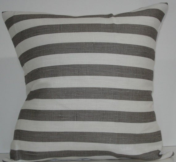 New 18x18 inch Designer Handmade Pillow Cases in warm grey and white stripe