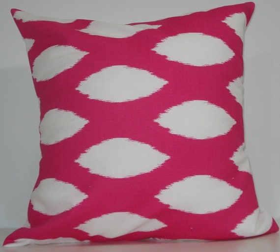 New 18x18 inch Designer Handmade Pillow Cases in pink ikat