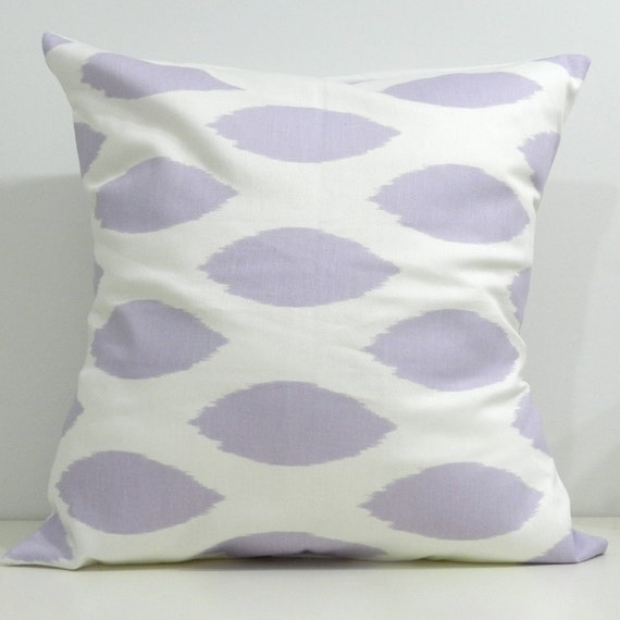 New 18x18 inch Designer Handmade Pillow Cases in lavender ikat