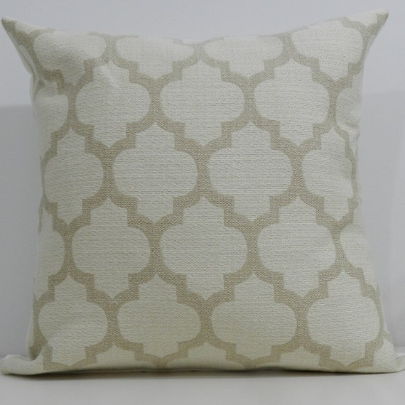 New 18x18 inch Designer Handmade Pillow Cases in tan and cream tile.
