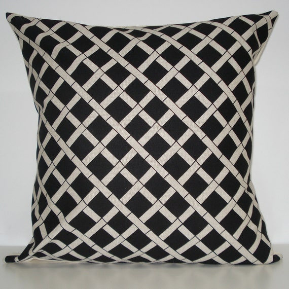 New 18x18 inch Designer Handmade Pillow Case. Bamboo pattern in black on Linen colored fabric.