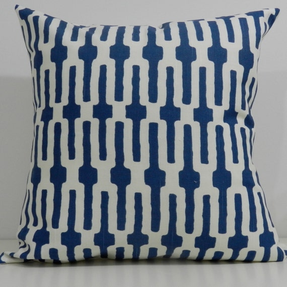 New 18x18 inch Designer Handmade Pillow Case in blue and white geometric