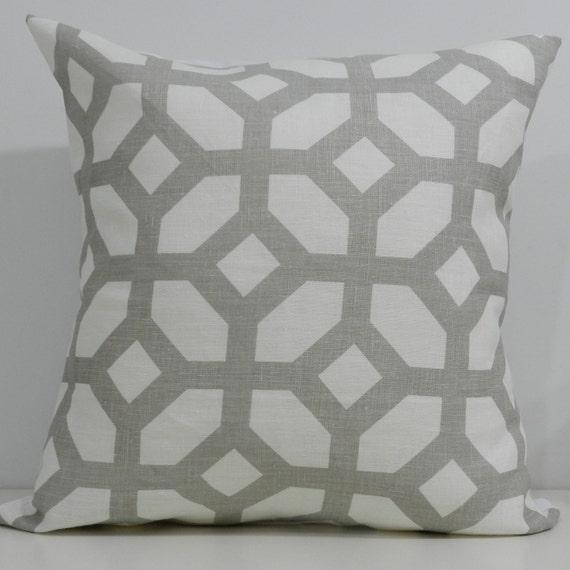 New 18x18 inch Designer Handmade Pillow Case in grey trellis
