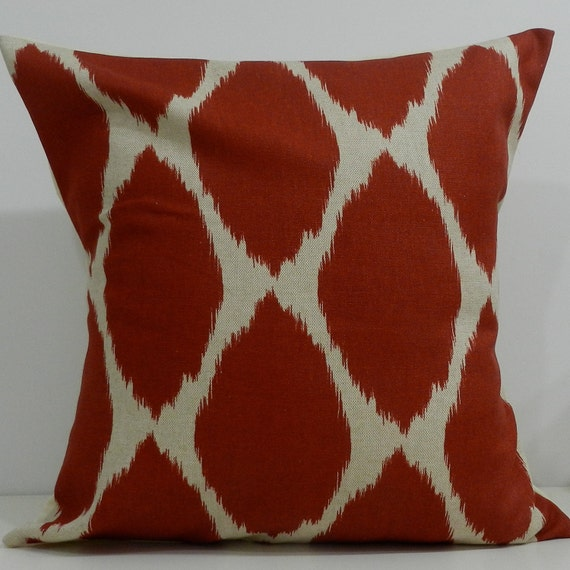New 18x18 inch Designer Handmade Pillow Cases in red/orange ikat
