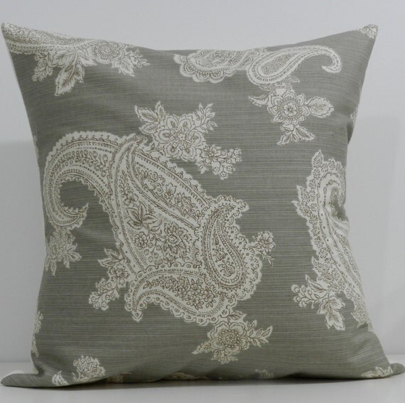 New 18x18 inch Designer Handmade Pillow Case in warm grey and taupe paisley