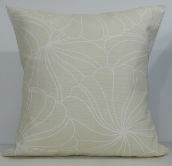 New 18x18 inch Designer Handmade Pillow Case in cream and white graphic flowers.