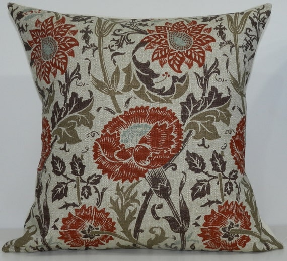 New 18x18 inch Designer Handmade Pillow Case in red, rust, orange, blue and brown