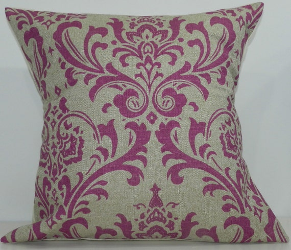 New 18x18 inch Designer Handmade Pillow Case in fuschia and taupe damask