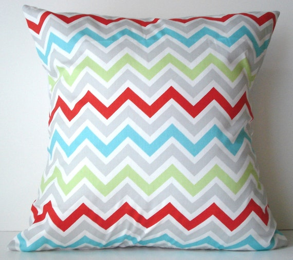 New 18x18 inch Designer Handmade Pillow Case in green, red, blue, grey and white chevron