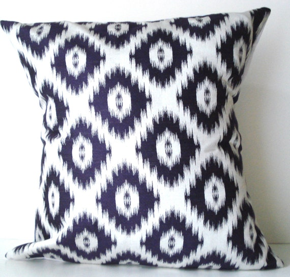 New 18x18 inch Designer Handmade Pillow Case purple on white ikat
