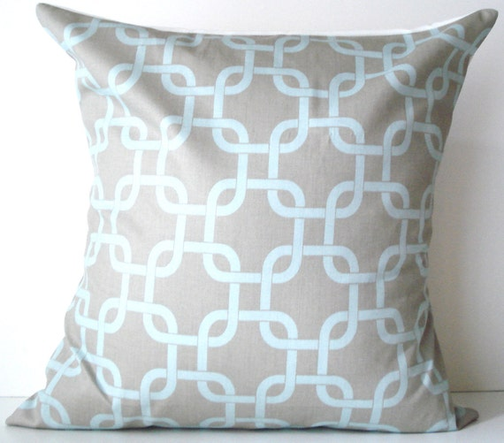 New 18x18 inch Designer Handmade Pillow Case in blue and grey
