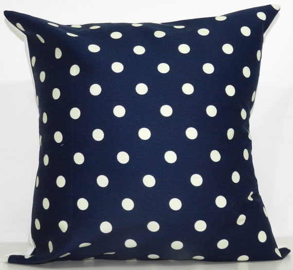 New 18x18 inch Designer Handmade Pillow Cases in navy and cream