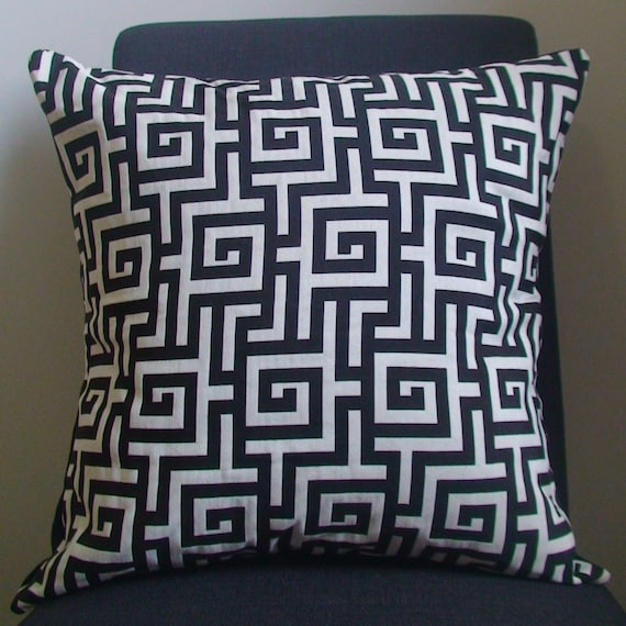 New 18x18 inch Designer Handmade Pillow Case. Contemporary designer fabric in  black and white graphic pattern. Pillow Case, Cushion Cover, Pillow Cover, Pillow.