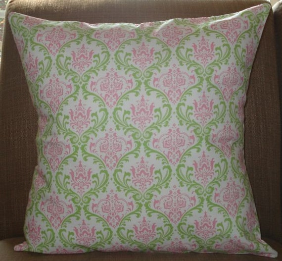 New 18x18 inch Designer Handmade Pillow Cases in small scale pink and green damask.