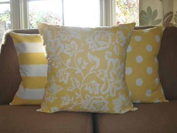 THREE New 18x18 inch Designer Handmade Pillow Cases. Contemporary designer fabric in yellow and white. Pillow Case, Cushion Cover, Pillow Cover, Pillow.