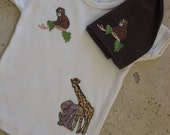 Organic Cotton IN THE JUNGLE Infant (6-12 mos.) Unisex Lap Tee and Hat Set  w\/ Embroidered Appliques