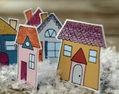 Winter Town - tiny glittered paper houses