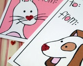 Valentine Gift Tags - Sweetheart Puppy and Bunny