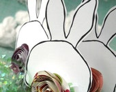 Bunny Butts  - three paper bunny accents with paper rose tails