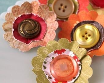 Paper Flowers - Posey Patch Citrus Sunshine Collection  - set 3