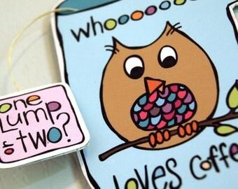 Owl Refrigerator Magnet - Whooooooo Loves Coffee