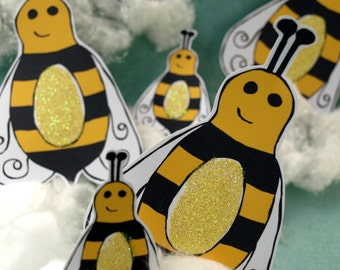 Bees - paper accents - Glitter Belly Bees