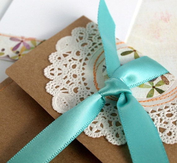 Note Set - handmade envelope and notecard - Salutation Set