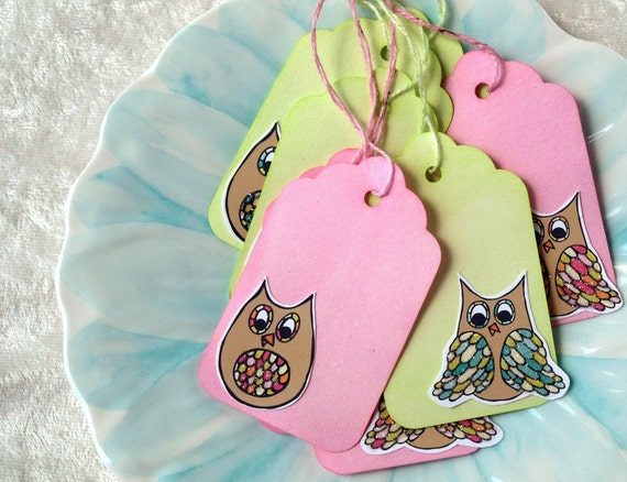 Glittered Owl Tags