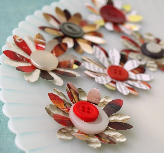 Recycled  Paper Flowers - Twice as Nice - made from recycled catalog pages