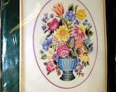 Vintage Merton Vase II Crewel Embroidery