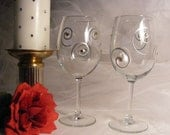 painted wine glasses with silver swirls and golden Swarovski crystals - perfect for Christmas or New Years, anniversary, or wedding