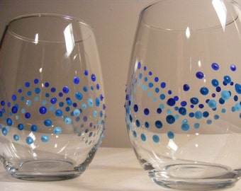 painted blue polka dot stemless wine glasses  - perfect for a beach wedding or lake house - can be personalized