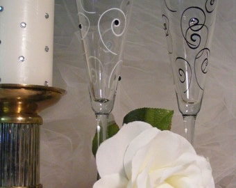 hand painted black and white wedding toasting flutes