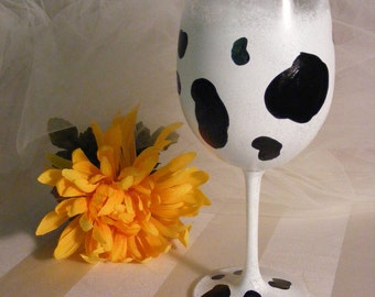 birthday wine glass  with cow print- can be personalized - Holy Cow She's 21 30 40 50 or 60