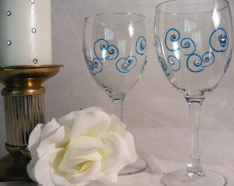 painted wine glasses with aqua teal blue swirls and clear crystals -ready to ship as shown