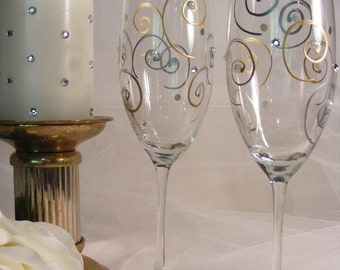 painted gold and silver  toasting flutes with Swarovski crystal rhinestones and pearls - perfect for a special anniversary or wedding